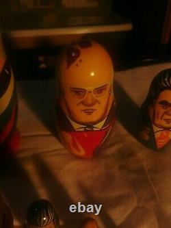 Rare Vintage CCCP Russian Soviet Political Leaders 7 Nesting Dolls Matryoshka