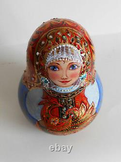 Roly Poly musical toy Nevalyashka wooden hand painted russian style khokhloma