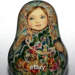 Roly poly author doll Russian matryoshka Christmas girl Snow Maiden no nesting