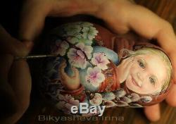 Roly poly author doll Russian matryoshka girl spring flower nature no nesting