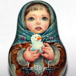 Roly poly author doll Russian matryoshka magic WINTER girl snowman no nesting