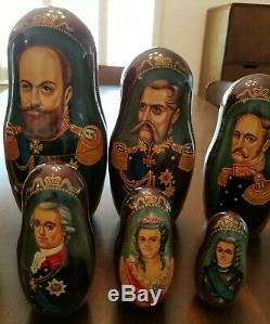 Romanov Dynasty Russian Nesting Dolls Matryoshka 14 pieces Czar Tzar 1613-1917