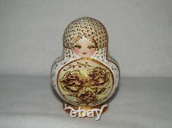 Rose Flower Maiden Wood Burned 10 Piece Matryoshka Russian Nesting Doll Marked