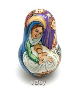 Russia Roly Poly NATIVITY Hand Carved Hand Painted no Nesting DOLL
