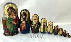 Russian 10pc Icon Religious Handpainted Nesting Doll Matryoshka 10 inch