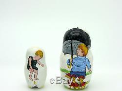 Russian 5 Nesting Dolls Matryoshka Mother Goose Humpty Dumpty Cat and Fiddle