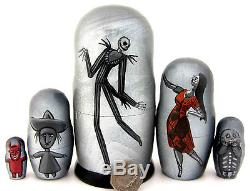 Russian 5 nesting doll Nightmare Before Christmas Jack Sally Victor Corpse Bride