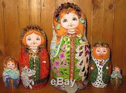 Russian 5 nesting dolls Matryoshka Humpbacked Horse Fire Bird Swarovski Crystal