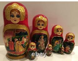Russian 7 Nesting Matryoshka Doll Fedoskino Style Tsar Sultan Signed 8.5