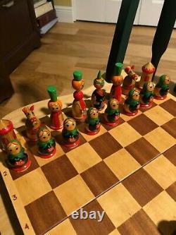 Russian Art Wood Matryoshka Nesting Dolls Chess Set Hand Maid