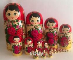 Russian Authentic Original BIG NESTING DOLLS set 19 pcs Semenov Matryoshka