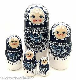 Russian BEAUTY Nesting DOLL Hand Carved Hand Painted Babushka Gzhel Style