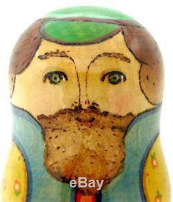 Russian BIG nesting doll 3 HAND PAINTED Dad & Mushrooms Mama Strawberry RYABOVA