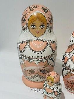 Russian Babushka Matryoshka Set of 12 Wooden Pink Nesting Dolls 1cm to 20cm