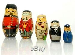Russian Babushka Vint Folk Art Graduated Nesting Dolls Of Various British Gents