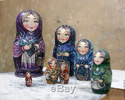 Russian Collectible matryoshka//Nesting Doll handmade 7 seats Russian berries