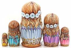 Russian Dolls 5 Music Girls & Wings CHMELEVA exclusive HAND PAINTED MATRYOSHKA
