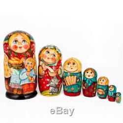 Russian Dolls with Pierogi 7 pc 8 Wood. Babushka Nesting Dolls FREE US Shipping