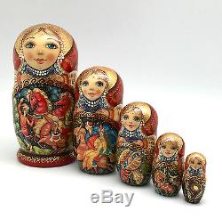 Russian Fairy Tale Firebird Nesting DOLL Hand Carved Hand Painted Signed ArtWork