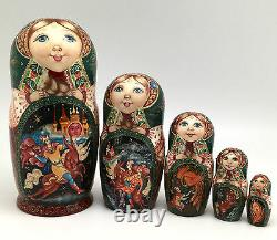 Russian Fairy Tale Firebird Story Nesting DOLL Hand Carved Hand Painted Signed