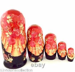 Russian Fairy Tale Tzar Saltan Nesting DOLL Hand Carved Hand Painted Babushka