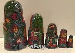 Russian Fedoskino Style 5 Nest. Doll Nutcracker By O. Shiryaeva