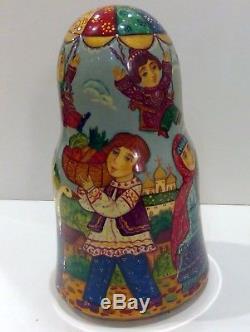 Russian Fedoskino Style 7 Nest. Doll Fair In Suzdal Shiryaeva 8.5