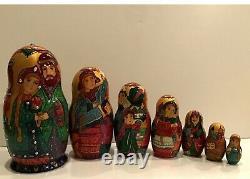 Russian Fedoskino Style 7 Nest. Doll Finest The Brave Falcon O. Shiryaeva