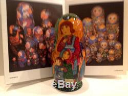 Russian Fedoskino Style 7 Nest. Doll Stone Flower O. Shiryaeva 8.75