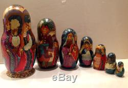 Russian Fedoskino Style 7 Nesting. Doll Hand Painting Tsar Sultan O. Shiryaeva