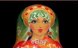 Russian Fedoskino Style Ball Shape 5 Nesting Doll Sleeping Beauty Signed 90s