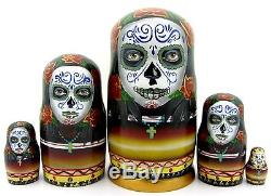 Russian HAND PAINTED nesting dolls 5 Day of the Dead SUGAR SKULL GIRLS Calavera