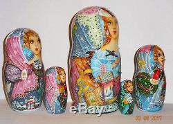 Russian Hand Painted Nesting Babushka Doll with Rhinestones Winter by Eva Belova