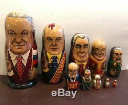 Russian Hand Painted Nesting Doll Matryoshka 10 pcs Yeltsin, Gorbachev, Brezhnev