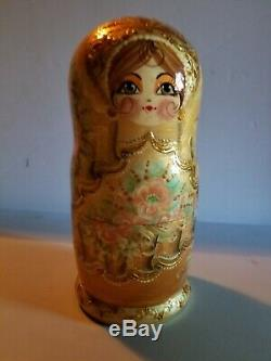 Russian Hand Painted Nesting Doll Matryoshka 9Piece Sets Made in Russia