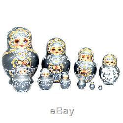Russian Hand Painted Silver Nesting Dolls Set of 10, Artist signed, 5.5