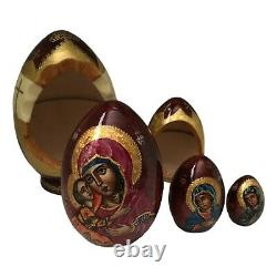 Russian Icon Hand carved Hand painted Nesting Dolls Christmas set