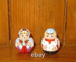 Russian KOROBEINIKI HAND PAINTED 6 nesting dolls MITINA Girls Boys Orange Blue
