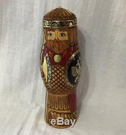 Russian Knight Bottle Holder Hand Carved Painted Nesting Bottle Holder Signed
