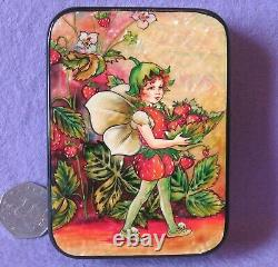 Russian LACQUER Box Strawberry FLOWER Fairy SILANTYEVA HAND PAINTED UNIQUE GIFT