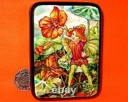 Russian Lacquer Shell Box Small Hand Painted Nasturtium Flower Fairy Silantyeva