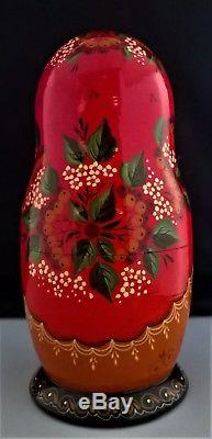 Russian Matroyoshka nesting dolls signed Mockba 1994 hand made and painted