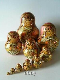 Russian Matryoshka 10 doll set Pink/gold (costume)