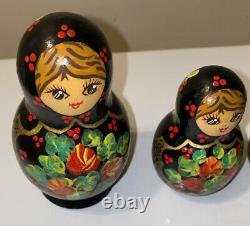 Russian Matryoshka 5 Pc Hand Painted Nesting Dolls Signed By Ceprueb Nocag