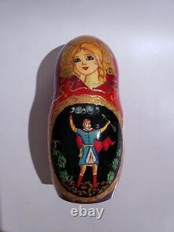 Russian Matryoshka 7 piece Fairy Tales Nesting Doll Handmade Signed 1996 8