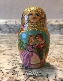 Russian Matryoshka Babushka Nesting Doll 7 PC Fairytale Cinderella Story Telling