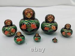 Russian Matryoshka Babushka Nesting Dolls Signed 10 Piece Vtg Rhinestone Inlaid