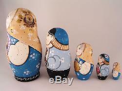 Russian Matryoshka Babushka Wooden Nesting Stacking Doll Kids With Toys 5 pcs
