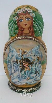 Russian Matryoshka Fairy Tale Collector's Doll 10 doll set (green)