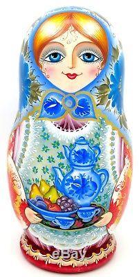 Russian Matryoshka MATT nesting doll 5 FAMILY & Samovar Tea Dinner NINA signed